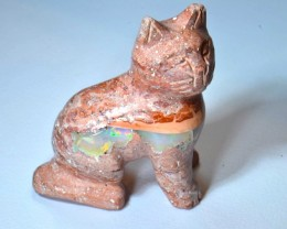 80ct No Reserve Kitten Figurine Mexican Matrix Carved Stone