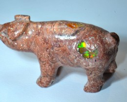 110ct No Reserve Piglet Figurine Mexican Matrix Carved Stone