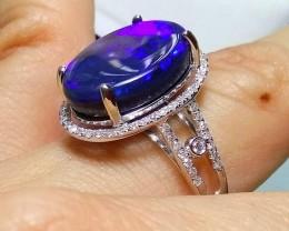 Black Opal Ring 14K Gold Diamonds Huge GEM