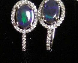 Opal earrings 14K Black Opal Solid
