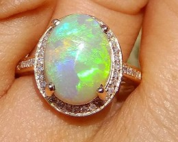 Opal Ring 14K Gold Diamonds Huge GEM