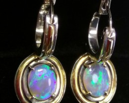 Opal Earrings 925/14K  solid opals black crystal
