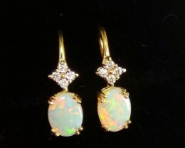 Opal earrings 14K solid opals