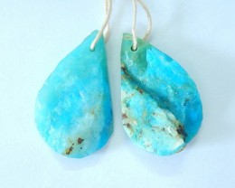 23.5CT Natural Blue Opal With Nugget Surface Teardrop Shape Earrings Beads