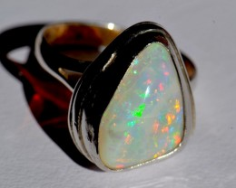 Sz6.5 No Reserve Sterling and Ethiopian Opal Ring