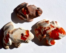 No Reserve Mexican Fire Opal Frogs Set