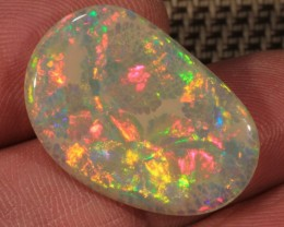 9.44CT~BRILLIANT 5/5 DOUBLE SIDED GREY BASE WELO OPAL CAB~BROAD FLASH/CELLE