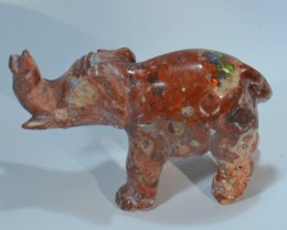 16.3cts Elephant Stone Carved Mexican Matrix Opal.