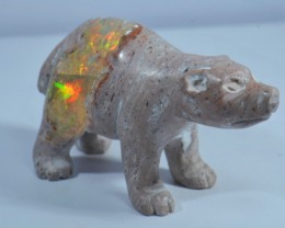 102cts Bear Stone Carved Mexican Matrix Opal.