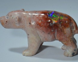 68cts Bear Stone Carved Mexican Matrix Opal.
