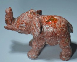 110cts Elephant Stone Carved Mexican Matrix Opal.