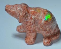 8.9cts Dog Stone Carved Mexican Matrix Opal.