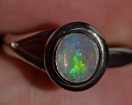 Sz6 Bright Solid Natural Multicoloured Opal .925 Silver Ring