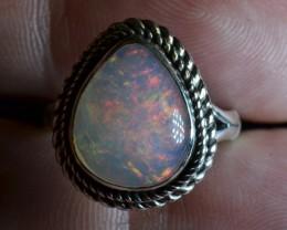 6Sz Contraluz Ethiopian Opal .925 Silver Taxco Handmade Quality Ring