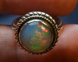 6sz Quality Ethiopian Opal .925 Silver Taxco Handmade Quality Ring