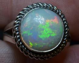7.5sz Quality Ethiopian Opal .925 Silver Taxco Handmade Quality Ring