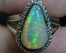 7sz Quality Ethiopian Opal .925 Silver Taxco Handmade Quality Ring