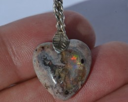 12cts Heart Shaped Mexican Fire Opal .925 Sterling Silver Pendant Taxco