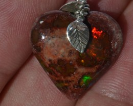 19.5cts Heart  Pendant Mexican Fire Opal .925 Sterling Silver Pendant Taxco