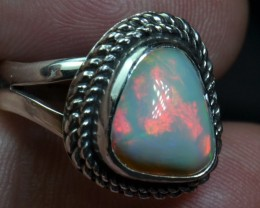 5.5sz Quality Ethiopian Opal .925 Silver Taxco Handmade Quality Ring