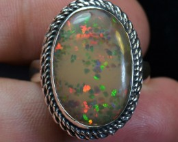 12.5sz Honeycomb Ethiopian Solid Large Opal .925 Silver  Quality Ring