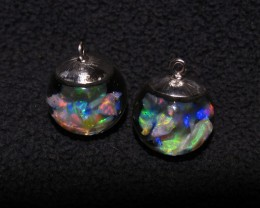 Floating opal Earrings gorgeous bright Lightning Ridge Crystal Opal
