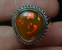Sz 11 Natural Ethiopian Opal .925 Silver Taxco Handmade Boho Ring Men's Jew