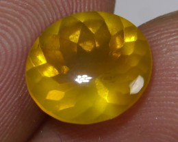 1.70 CT UNTREATED YELLOWISH CLEAR FIRE INDONESIAN FACETED OPAL