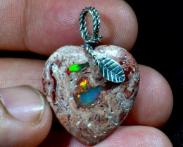 Heart Pendant Mexican Cantera Fire Opal
