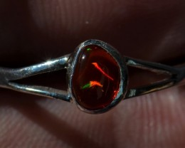 Red Fire Opal Stwerling Ring