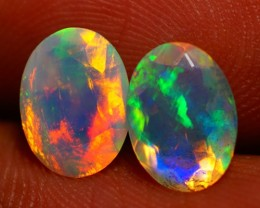 8X6MM  TOP QUALITY !!  WELO ETHIOPIAN FACETED OPAL PAIR-AB317