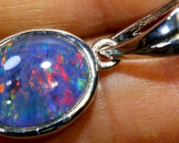 6.60 CTS  TRIPLET OPAL SILVER PENDENT OF-2134