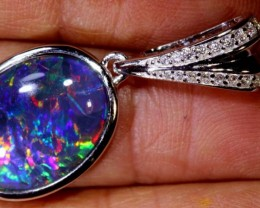 16.60 CTS TRIPLET OPAL SILVER PENDENT OF-2140