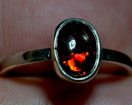 9sz Mexican Smoked  Fire Opal .925 Silver Taxco Handmade Quality Ring