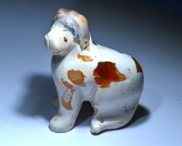 Stone Carved Doggy Mexican Fire Opal