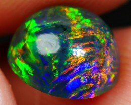 1.50 CRT BRILLIANT SMOKED ROUND FLORAL LEAF PATTERN WELO OPAL