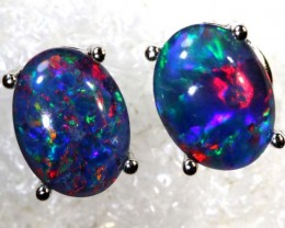 16 CTS TRIPLET OPAL SILVER EARRINGS OF-2160