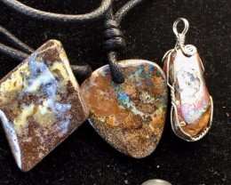 Three Boulder opal pendants MMR2348