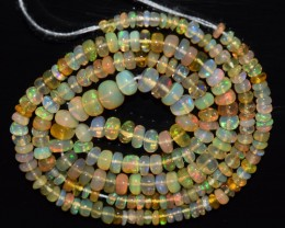 35.35 Ct Natural Ethiopian Welo Opal Beads Play Of Color