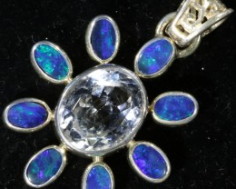 26.25 CTS TOPAZ WITH DOUBLET SILVER PENDANT[SOJ6172]