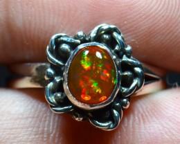 Sz7 Blazing Drop of Fire Mexican Solid Opal .925