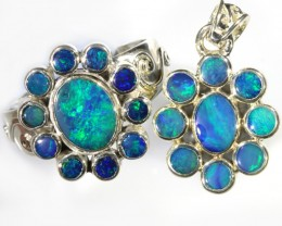 44.35 CTS DOUBLET OPAL SILVER  PENDANT AND RING SET [SOJ6230]