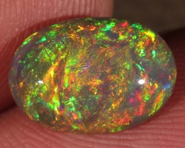 2.44CT~BRILLIANT 5/5 DARK BASE WELO OPAL CAB~FULL SATURATION OF FIRE