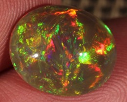 4.84CT~BRILLIANT 5/5 DARK BASE WELO OPAL CAB~FULL SATURATION OF FIRE