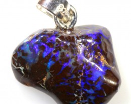 12.25 CTS SILVER  BOULDER OPAL NUGGET FREE CHAIN [SOJ6251]