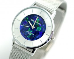 Romeo Mens Silver Watch Mosaic Opal
