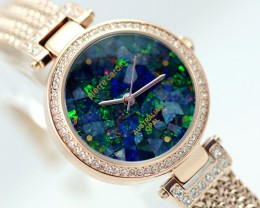 Queen Ladies Rose Gold Watch Mosaic Opal