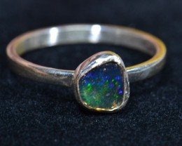 7.25 Sz  Solid Mexican Opal .925 Silver Ring