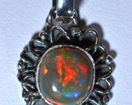 Gorgeous Fiery Welo Opal .925 Sterling Silver Pendant Mexican Taxco Jewe
