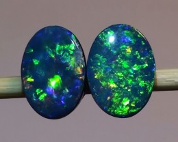 1.20 ct Doublet Opal Earring Pair With Gem Blue Green Color